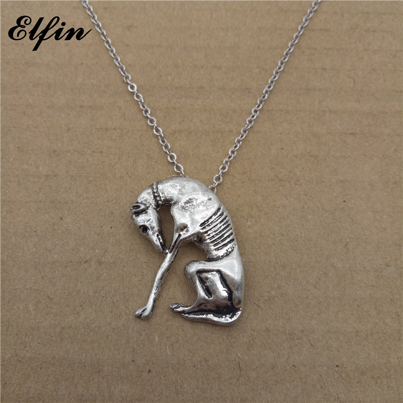 Elfin 2017 Trendy Italian Greyhound Necklace Fashion SLOUGHI Jewellery Spanish Grey Hhound Whippet Pendant Necklace Women