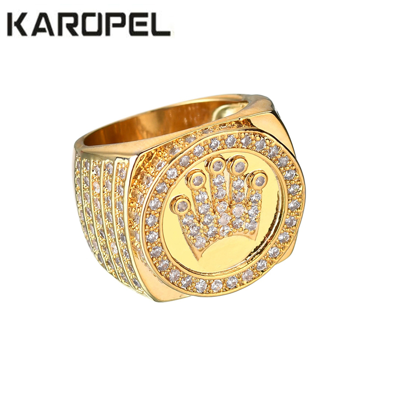 83b55a468 Karopel Hip Hop Bling Jewelry King Crown Father's Day Gift For Men Bling  Bling Micro Pave