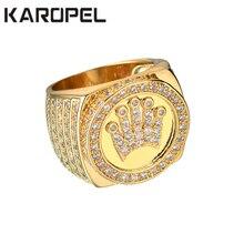 Karopel хип-хоп Bling ювелирные изделия Король Корона подарок на день отца для мужчин Bling микро Pave CZ золотой цвет циркон кольцо