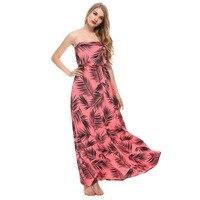 Boho Style Women Dress Off The Shouder Spring Summer Feather Printed Mixi Dresses Slash Neck Pink Long Bodycon Beach 2018 Dress