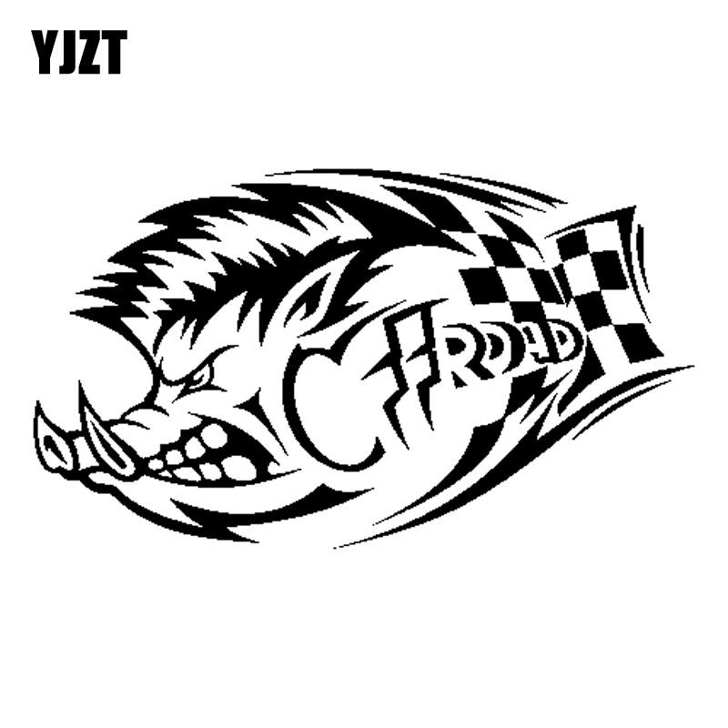 YJZT 17.8CM*10.3CM Off Road Boar Vinyl Black Silver Decal Car Sticker C13-000645
