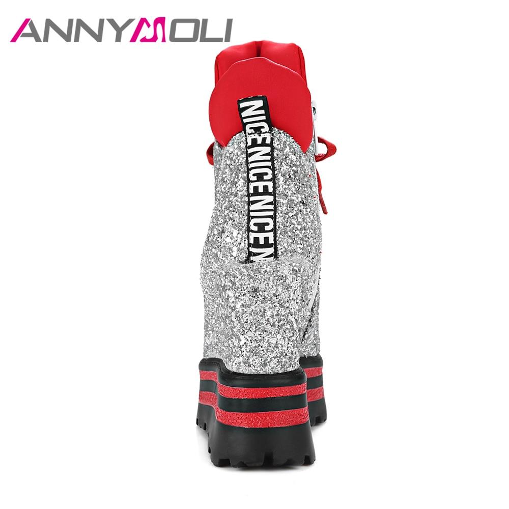 ANNYMOLI Wanita Ankle Boots Platform Wedge High Heels Sepatu Bot - Sepatu Wanita - Foto 4