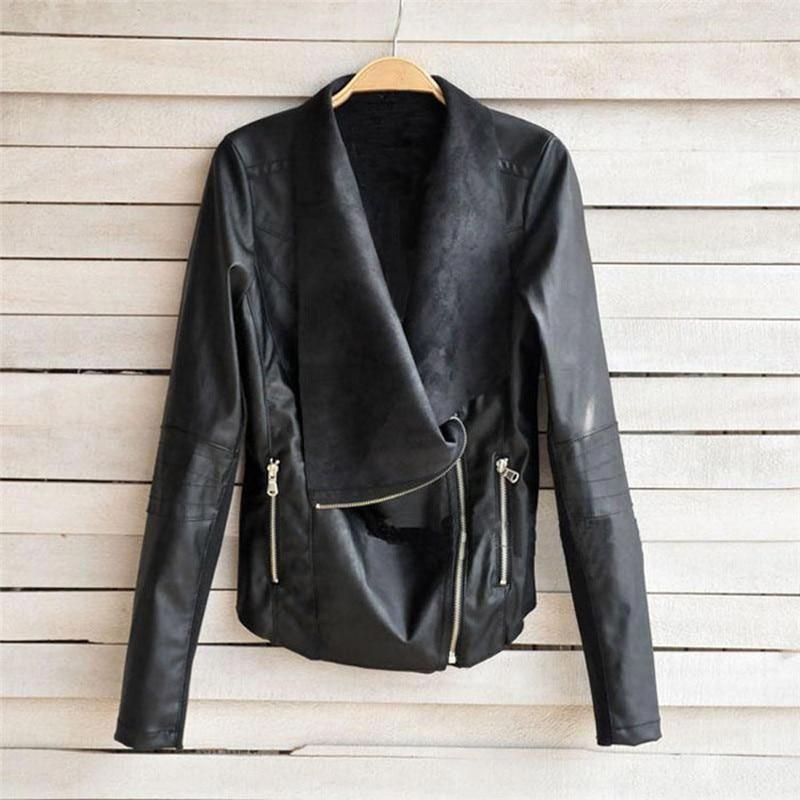 jinggton 2017 Autumn 1PC Fashion Vintage Women Biker Motorcycle Leather Zipper Jacket Coat Cardigan jacket