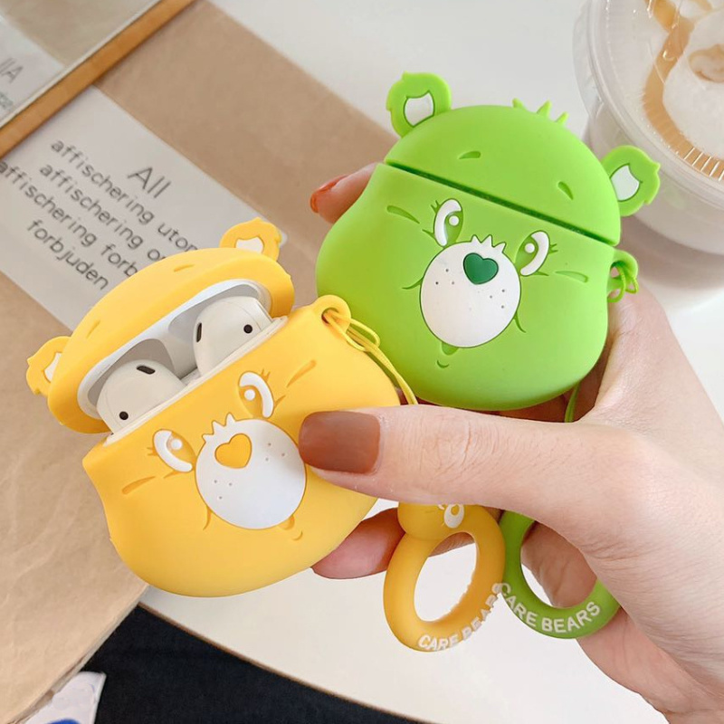 Image 3 - Cartoon cute rainbow bear 3D Headphone protective shell for airpods 2 case for Apple Bluetooth headset cover Protect the box-in Earphone Accessories from Consumer Electronics