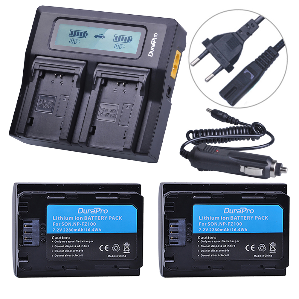 2 Unid NP FZ100 batería + LCD cargador rápido para Sony NP-FZ100 BC-QZ1 Alpha 9, A7RIII, ILCE-7RM3 para Sony A9, A9R, Alpha 9 s Cámara