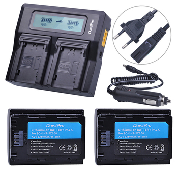 2PC NP FZ100 Battery + LCD Quick Charger for Sony NP-FZ100 BC-QZ1 Alpha 9, A7RIII, ILCE-7RM3 for Sony A9, A9R, Alpha 9s Camera