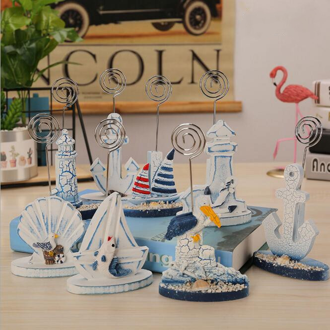 Vintage Resin The Mediterranean Sea Style Photo Clip Holder Desk Name Card Wedding Favors Place Card Memo Paper Clip Note Holder