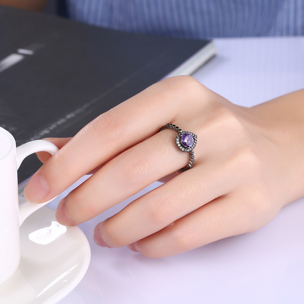 Black Gun Plated Rings For Women Water Drop Designs Round Blue ...