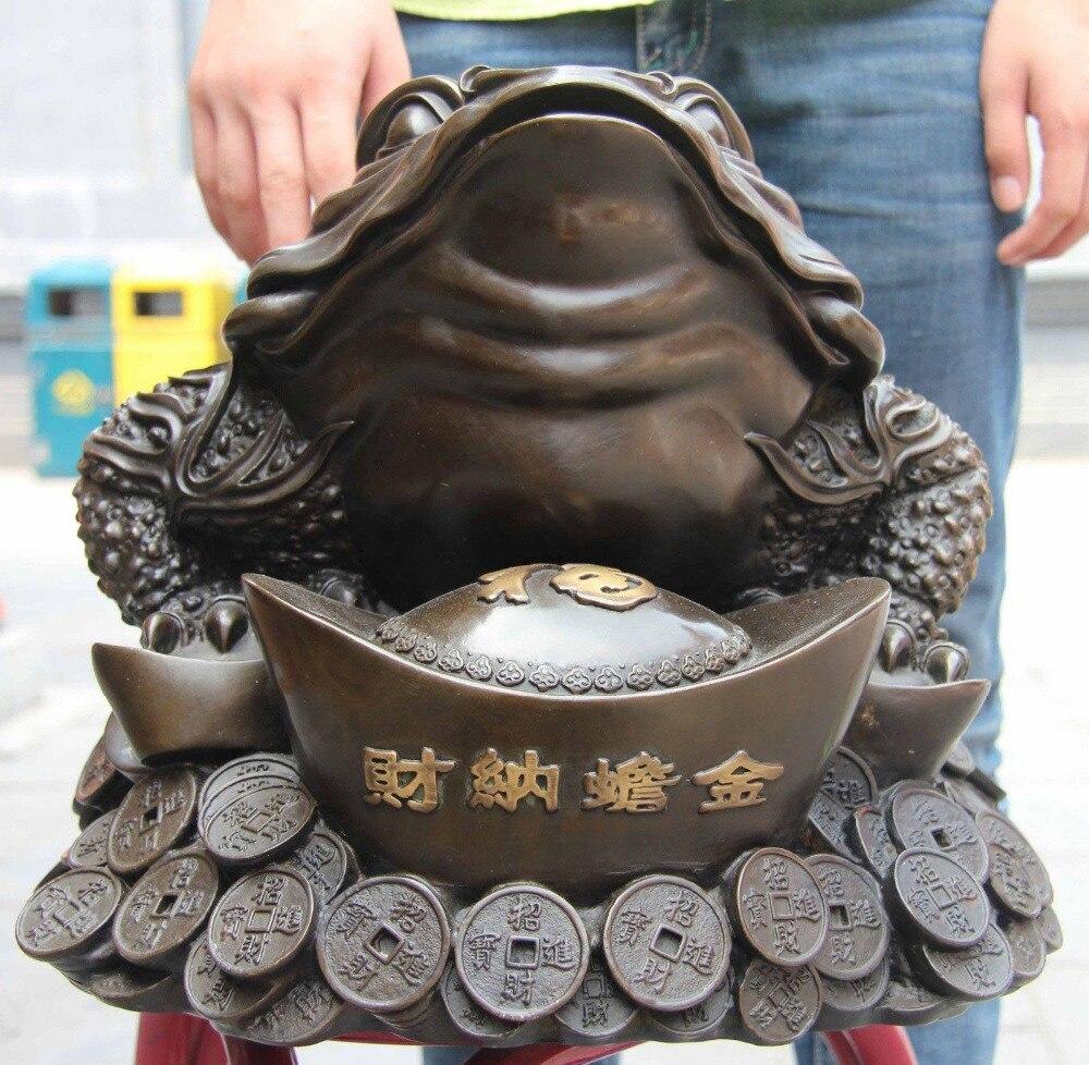 Cina Bronzo Rame Casa Feng Shui Yuan Bao ricchezza spittor Toad oro toad StatueCina Bronzo Rame Casa Feng Shui Yuan Bao ricchezza spittor Toad oro toad Statue