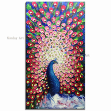 3D knife animal painting Hand Painted peacock Oil Paintings Modern Pictures on Canvas Wall Art picture for Living Room