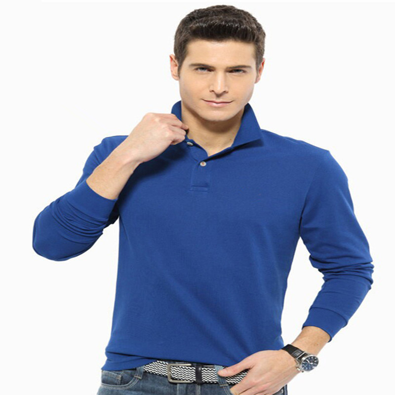 Men's   Polos   Pure Color   Polo   Lapel Long Sleeve   Polo   Sleeve Head Big Size Men's Red Black White Blue Free Shipping