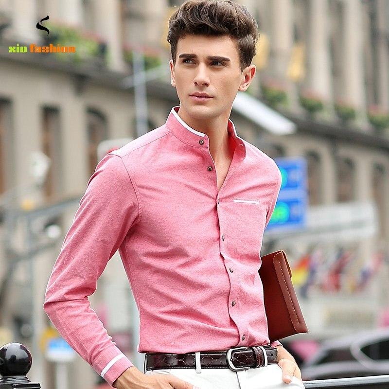 M 5xl big mens oxford shirts new brand male long sleeved for Men oxford slim fit long sleeve shirt