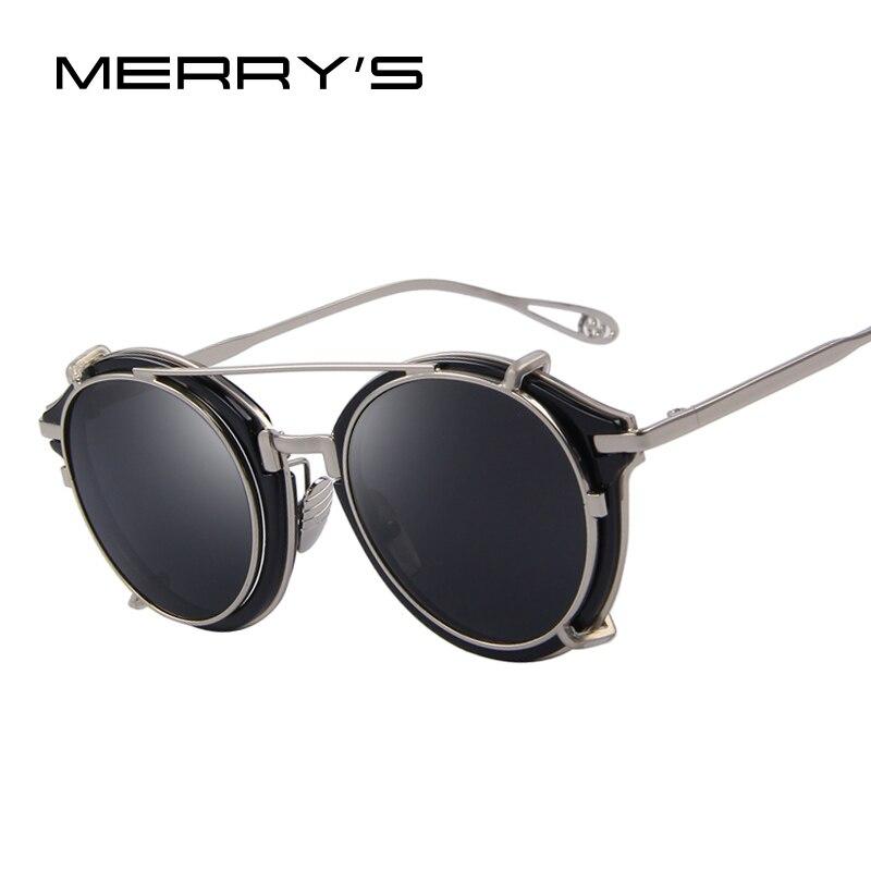 MERRY'S Frauen Steampunk Runde Sonnenbrille Flip Trennbar Objektiv Spiegel objektiv/Klare linse Vintage Brillen UV400