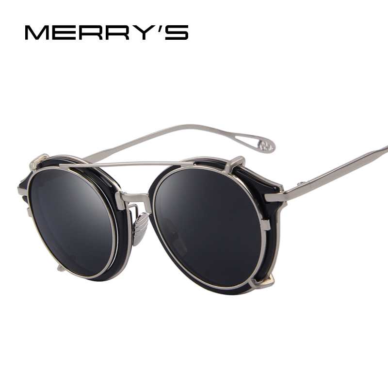 ae95b783a8 MERRY S Women Steampunk Round Sunglasses Flip Separable Lens Mirror  lens Clear lens Vintage Glasses UV400