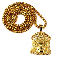 ER Hip Hop Gold Tribal Indian Chief Pendant Necklace Solid Golden Titanium Steel India Jewerly Hiphop
