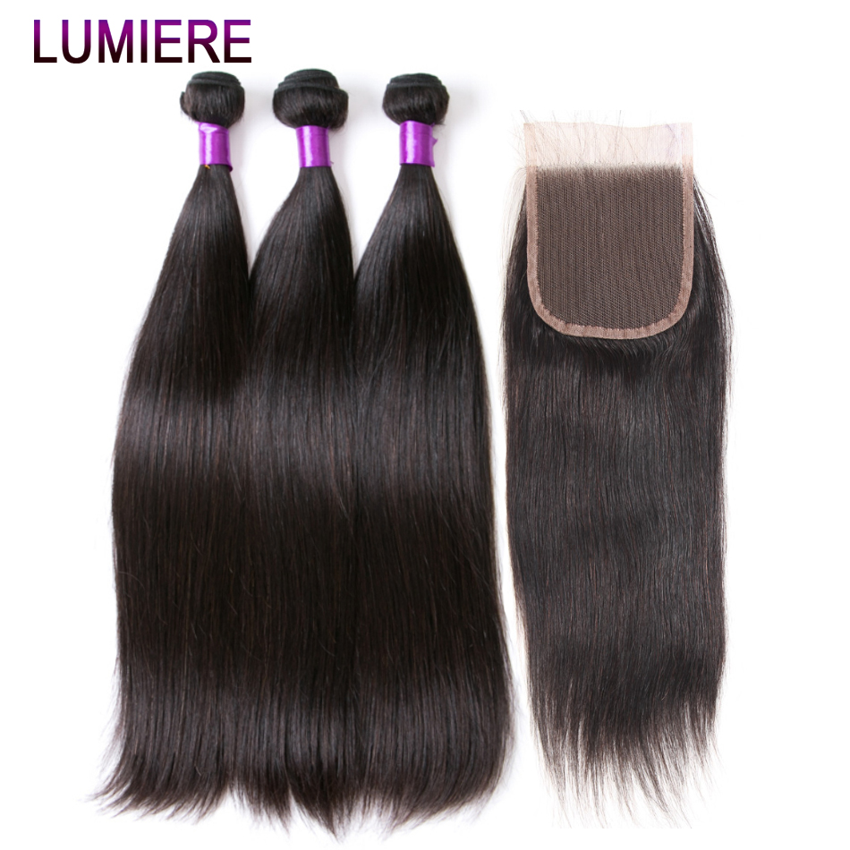 Lumiere Hair Peruvian Straight Hair Extention With Closure 3 Bundles Non Remy Human Hair Bundles With