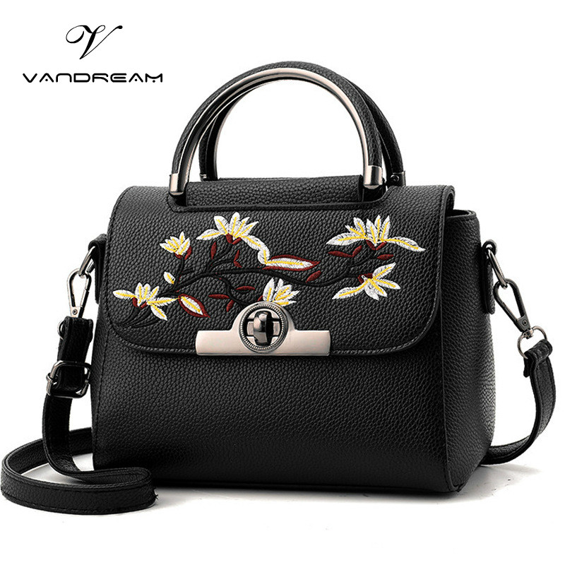 Vandream 2017 New Arrival  Women Handbag Fashion Shoulder / Messenger Bag Flower Lock Small Casual Cross Body Bag Retro Totes new arrival fashion color stitching simple silver buckle casual chain handbag women s shoulder bag across body messenger totes