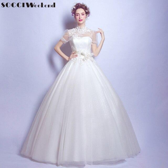 SOCCI Wochenende 2017 Vintage Hochzeit Kleid high neck vestidos de ...