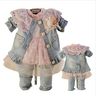 Anlencool 2017 Free shipping children spring girls denim three-piece baby clothing sets Girl cowboy suit Cowboy clothing sets