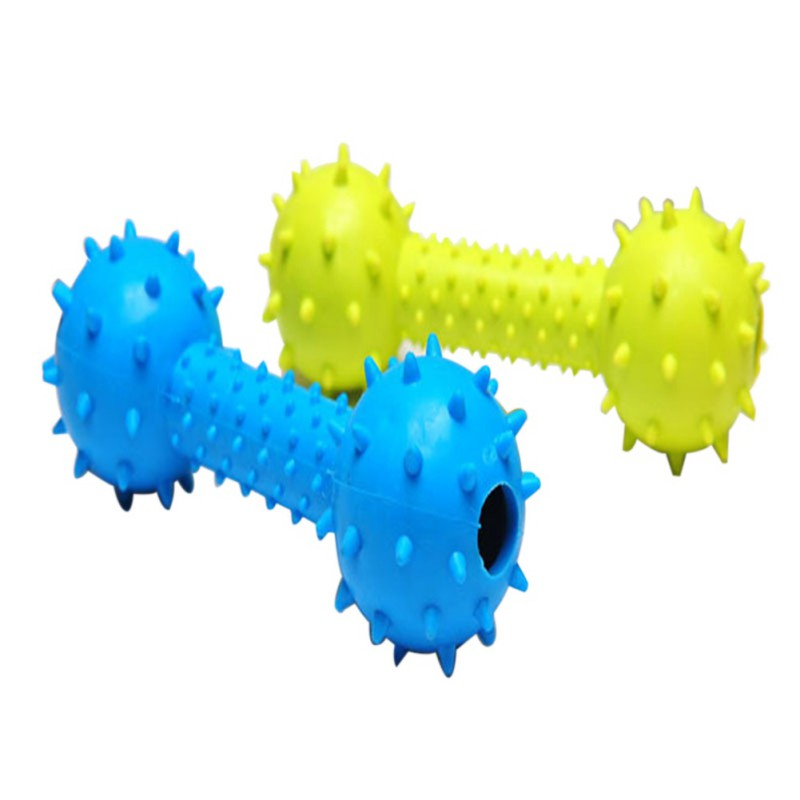 Hot Sale Dumbbell Dog Toys With Bell Inside Pet Products Plastic Toys Rubber Ball Toy Ball Random Color