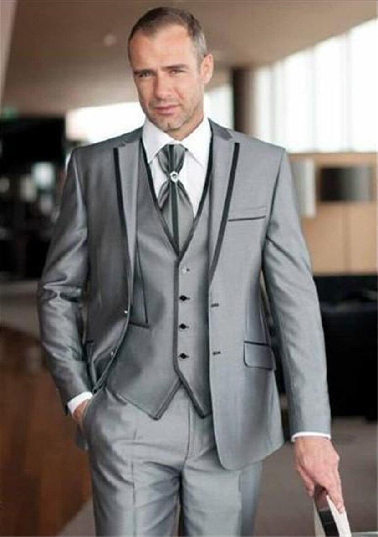High Quality Two Buttons Light Grey Groom Tuxedos Notch Lapel Wedding Men's Suit Bridegroom Suits(Jacket+Pant+vest+tie)