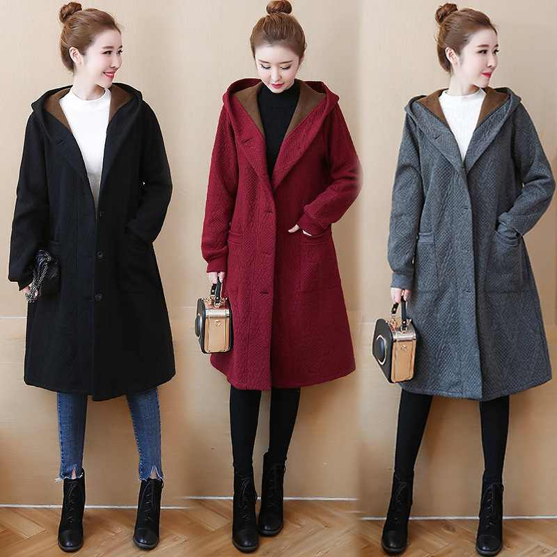 L- 4XL 5XL Hooded Women Winter Coat 2018 Thicken Velvet Plus Size Long Sleeve Single Breasted Cotton Blended Long Overcoat Z376