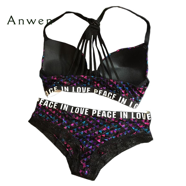 Hot sexy new fashion vs pink style bra set front closure push up cross y-line straps secret lace women underwear panty set