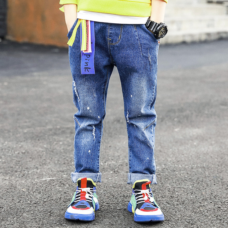 2018 New Fashion Jeans For Boys Ripped Jeans Autumn Wear 2018 Long Denim Pants Teenagers Baby Boy Casual Trousers Children's 12 fashion streetwear mens jeans blue color frayed hole ripped jeans men jogger pants slim fit leg open ankle banded jeans trousers