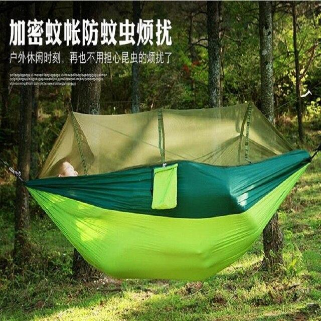 Panno paracadute allaperto amaca con reti di zanzara ultra leggero nylon doppio verde dellesercito di campeggio aria carico super cuscinetto tenda