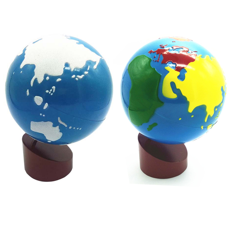 Baby Toys Montessori Earth Globe Plastic and Wood Material Learn to Know World Kids Early Learning Teaching Aids