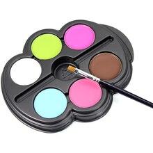 6 Colors Painting Pigment Set Fluorescence Face Makeup Body Art For Halloween Face Paints With Pen HJL2017