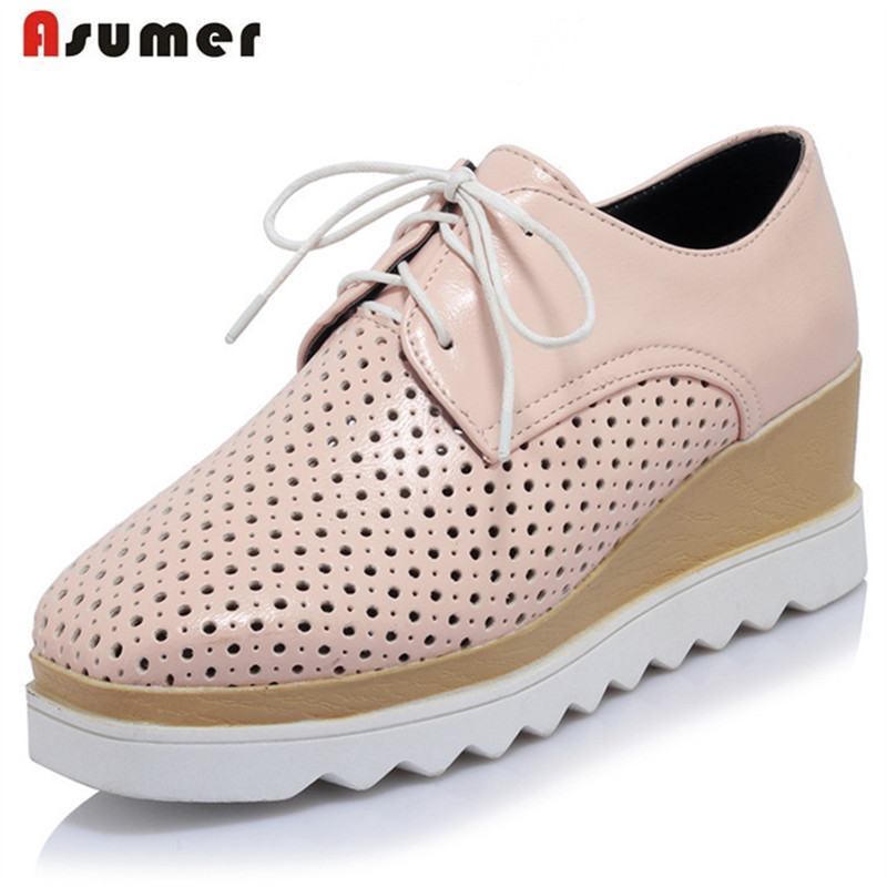 Asumer Fashion shoes woman lace-up square toe wedges high heels shoes spring autumn PU solid women pumps big size 34-43 xiaying smile woman pumps shoes women spring autumn wedges heels british style classics round toe lace up thick sole women shoes