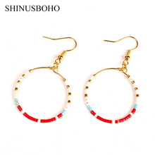 SHINUS BOHO Простые серьги с кругами Maxi Miyuki Seed Beads Handmade Earrings Round Gold Drop Earring для женщин Ювелирный подарок