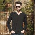 Pioneer camp 2017 outono moda de nova camisa dos homens t de manga longa fino marca clothing v-neck eladtic tshirt personalidade sólida 620013