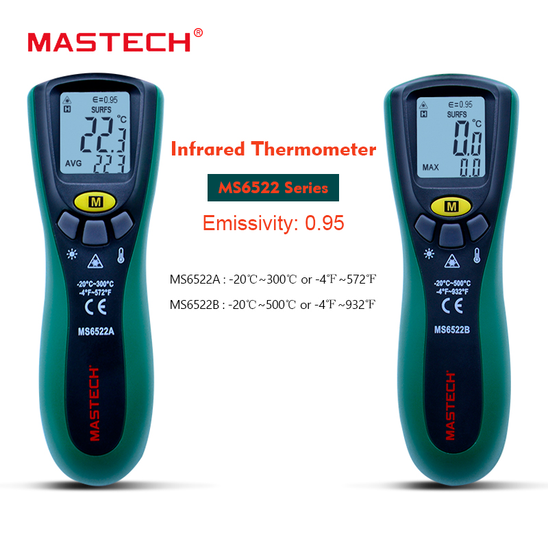 MASTECH MS6522A/B handheld Digital thermometer gun -20C~300C/500C Laser Pointer Non-contact Infrared IR Thermometer 10:1 ir 801 1 2 led mini wireless handheld infrared laser thermometer black blue 1 x 9v