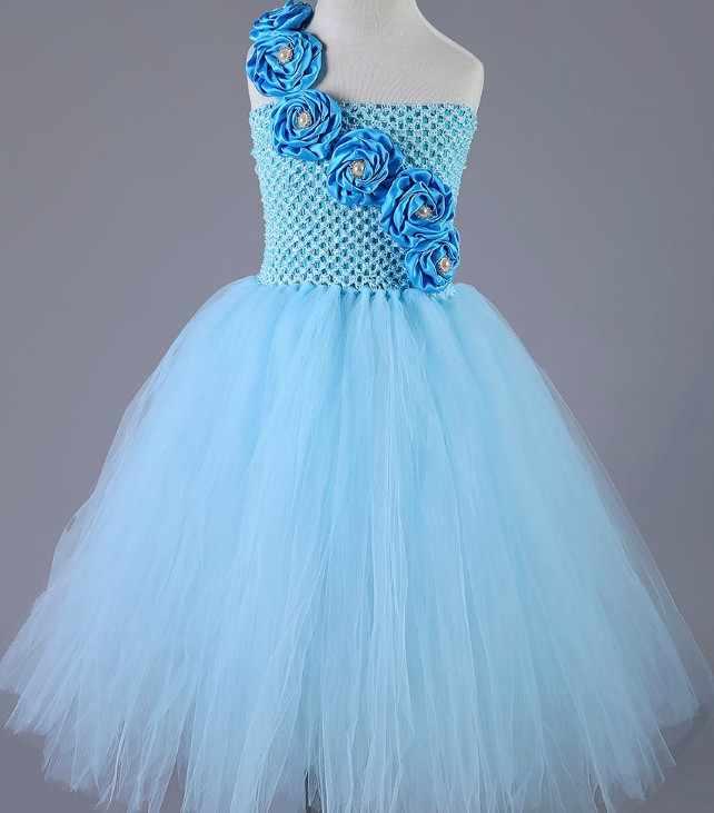 42f43a9f5 ... New Design Cute Blue Flower Girls Dresses for Wedding Rose Flower Kids Tutu  Dresses Pageant Party