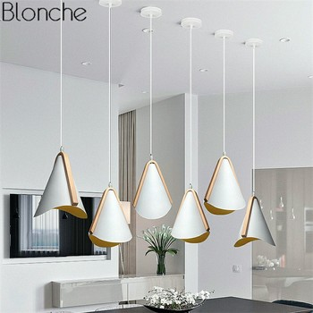 Nordic Modern LED Pendant Lights Wood+Iron Hanging Lamp For Living Room Kitchen Bar Home Fixtures Loft Industrial Luminaire E27
