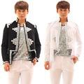 Personalizado preto/branco dos homens jacket handmade strass fino casual masculino traje cantor dj stage desempenho desgaste outerwear
