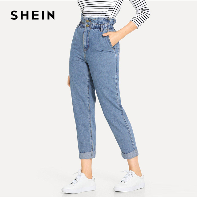 SHEIN Blue Rolled Hem Frill High Waist Jeans 3 Colors 2019 Women Spring Plain Pocket Zipper Elastic Waist Casual Pants Trousers 1