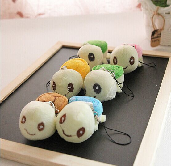 Mini 4CM Small Toys , 4Colors - Tortoise Plush Stuffed TOY DOLL , String TOY Key Chain DOLL ; Stuffed Wedding Bouquet DOLL TOY