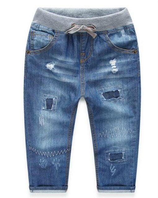 Горячая бренд детей брюки рисовать отверстие дети мальчики джинсы 100% хлопок Джинсовые ребенок девушки джинсы брюки для 2-10 лет ребенок