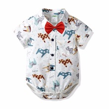 2019 Brand Baby Boy Clothes Cartoon Summer Newborn Gentleman Collar Tie Pure Tops Shirt Blue Short Sleeves