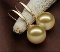 Freies Verschiffen Riesige AAA 16mm natürliche südsee shell perlen goldene ohrringe