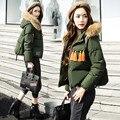 2016 женская новая зимняя куртка женский короткий толстый Корейский капюшоном меховой воротник пальто свободные большие восточные ворота