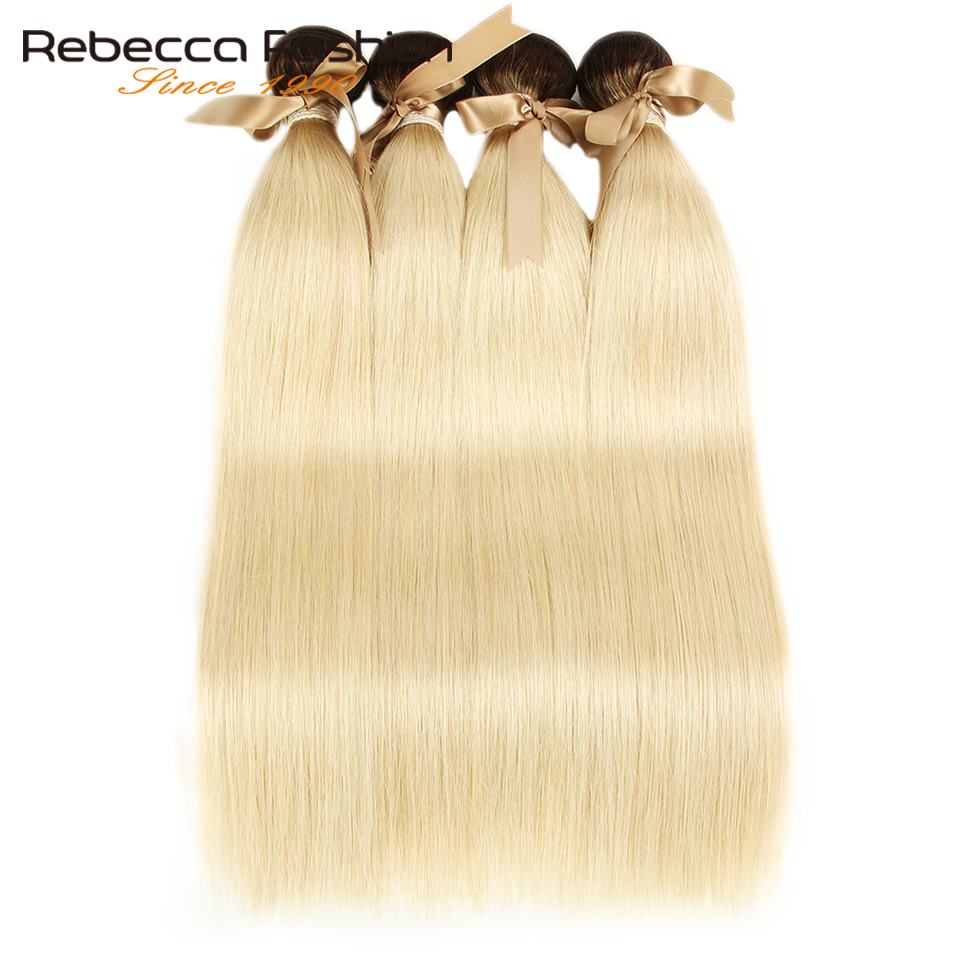 Rebecca Ombre Blonde Bundles Malaysian Straight Remy Human Hair 1/3/4 Brown Roots T4/613 Honey Blonde Bundles 10 To 26 Inches