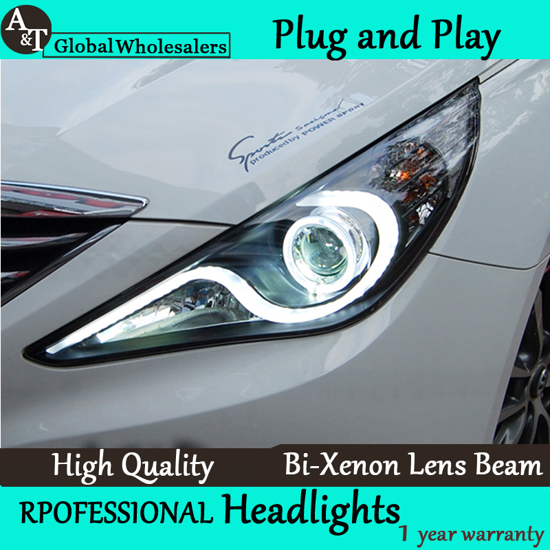 Car Styling for Hyundai Sonata Headlight 2011-2014 LED Headlight DRL Lens Double Beam H7 HID Xenon bi xenon lens new headlight headlamp left right for hyundai sonata 8 head led light bar drl 2011 2015 h7 bi xenon