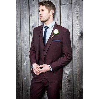 New Style Burgundy Wedding Suits For Men Slim Fit Custom 3 Piece Tuxedo Prom Groom Suits Blazer (Jacket+Pants+Vest) FA679
