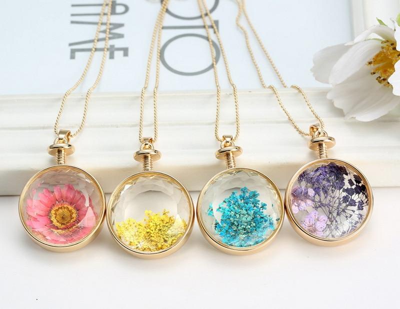 LIEBE ENGEL Kvinder Smykker Collarer Tørrede Blomster Glas Halskæde - Mode smykker - Foto 6