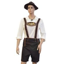 Oktoberfest Men Brown Costume Cosplay Bar Club Beer Waiter Carnival Halloween Costumes For Bavarian Gentleman Cowboy