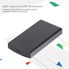 Portable High Speed USB 3.1 3.0 Type-C M.2 NGFF SSD Enclosure Single Bay External SSD Mobile Box Solid State Drive Case for 2242